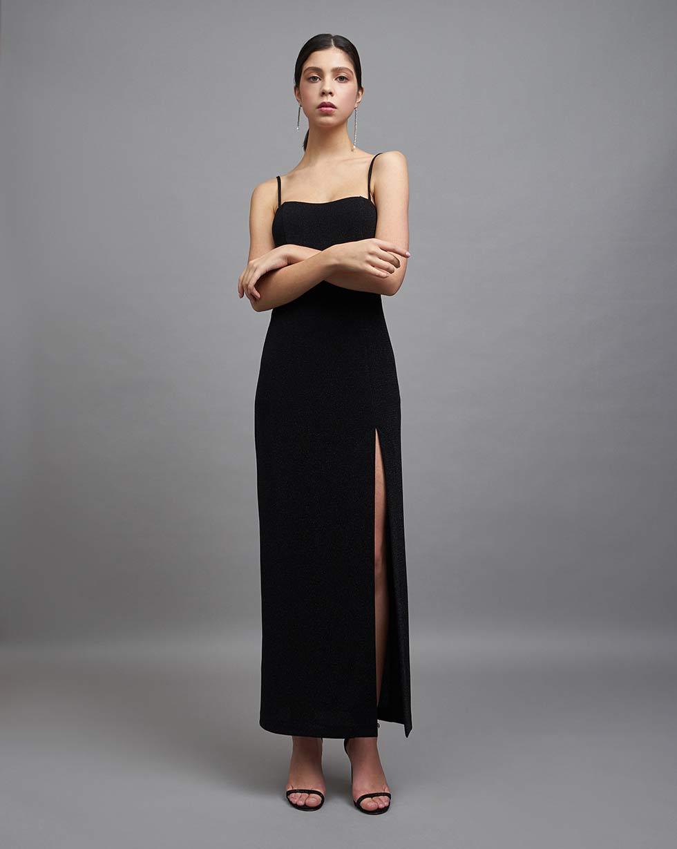 12Storeez Платье с высоким разрезом (Чёрный)
