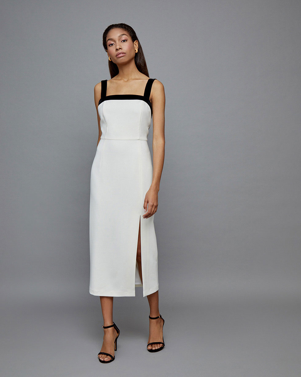 12Storeez Платье с открытой спиной (Молочный)