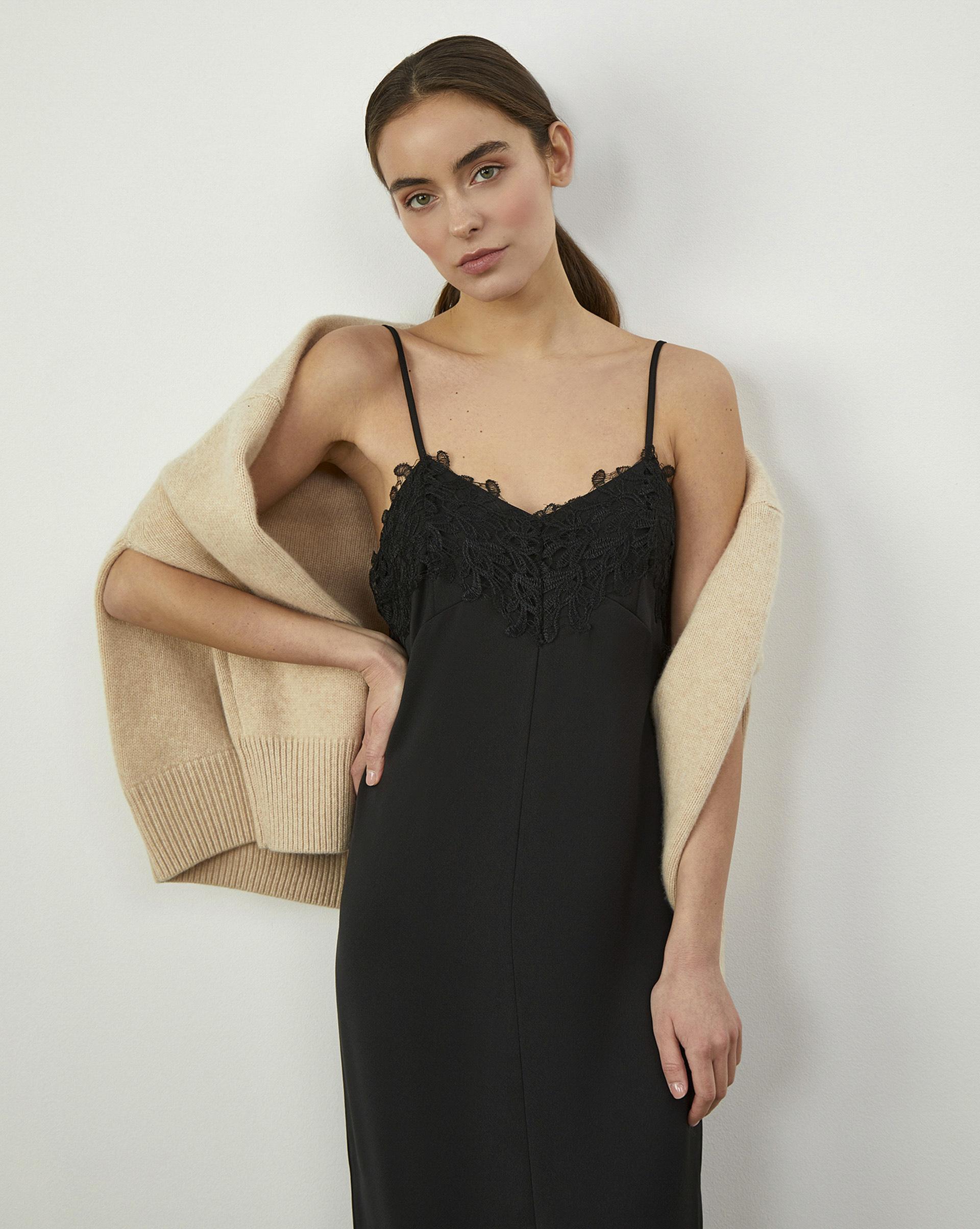 12Storeez Платье комбинация с кружевом (Чёрный) свободное платье в сочетании с кружевом chloah