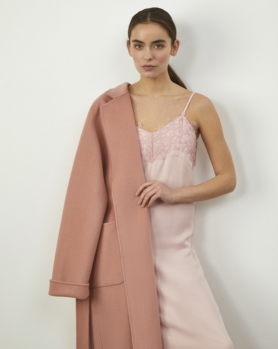 12Storeez Платье комбинация с кружевом (Розовый) свободное платье в сочетании с кружевом chloah