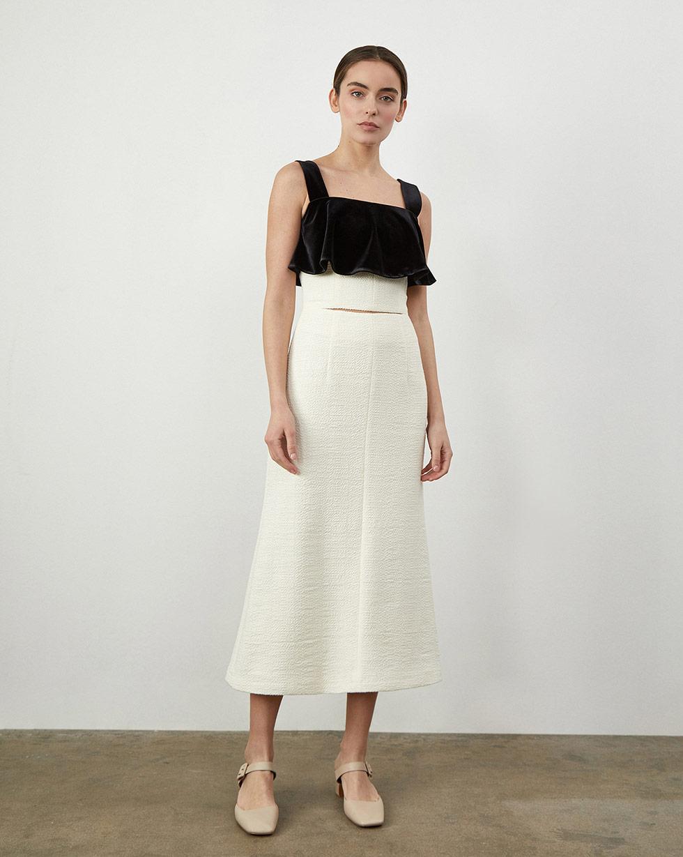 12Storeez Платье на бретелях комбинированное (Молочный)
