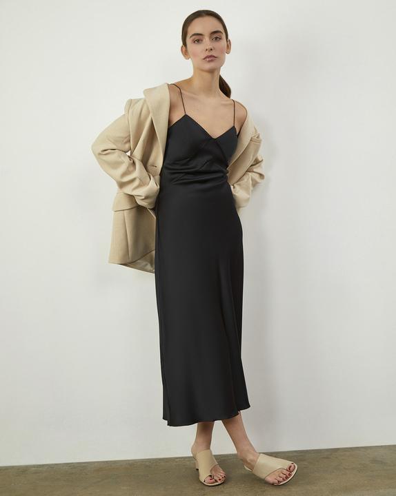 12Storeez Платье комбинация из шелка (Чёрный) цена