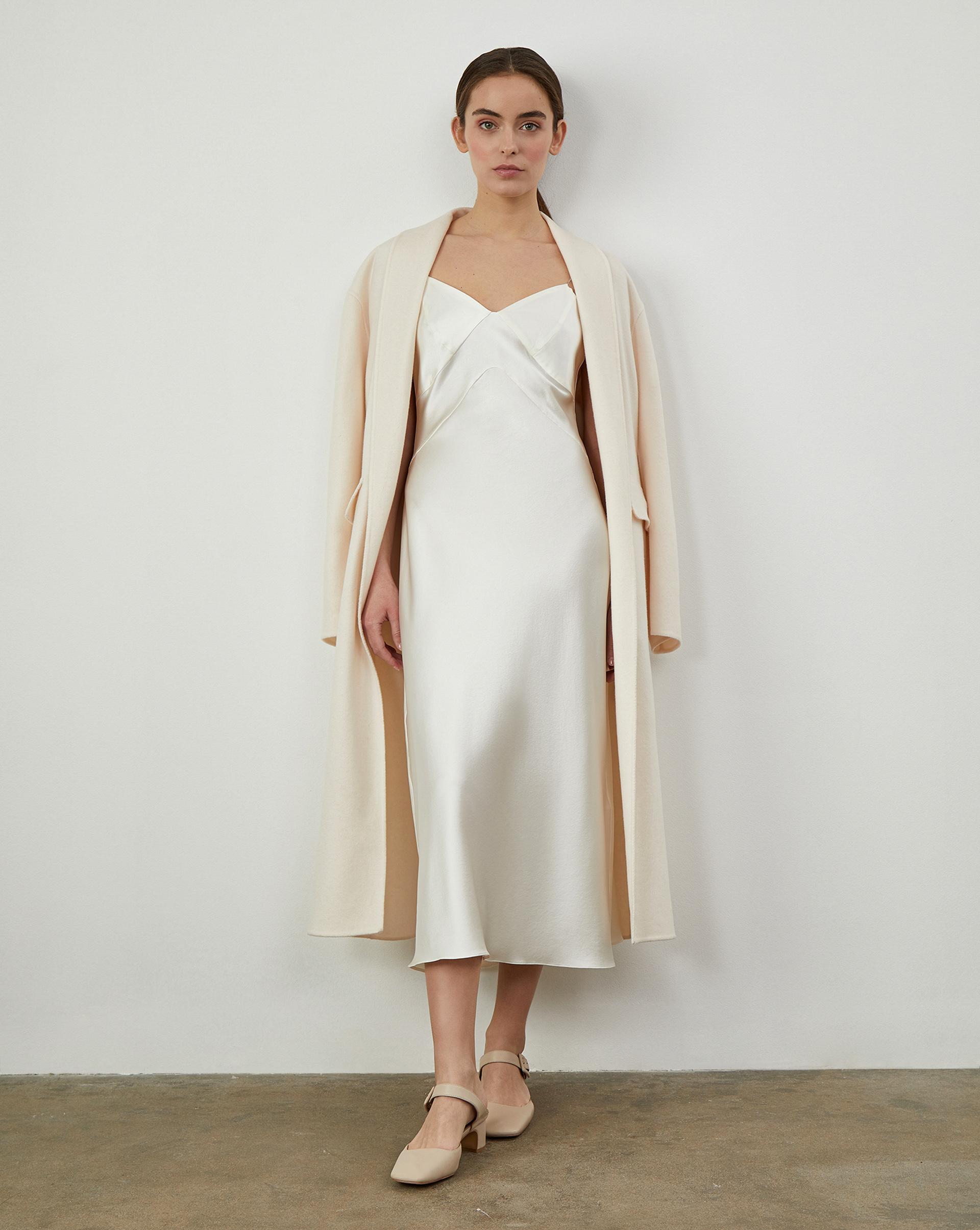12Storeez Платье комбинация из шелка (Молочный) цена