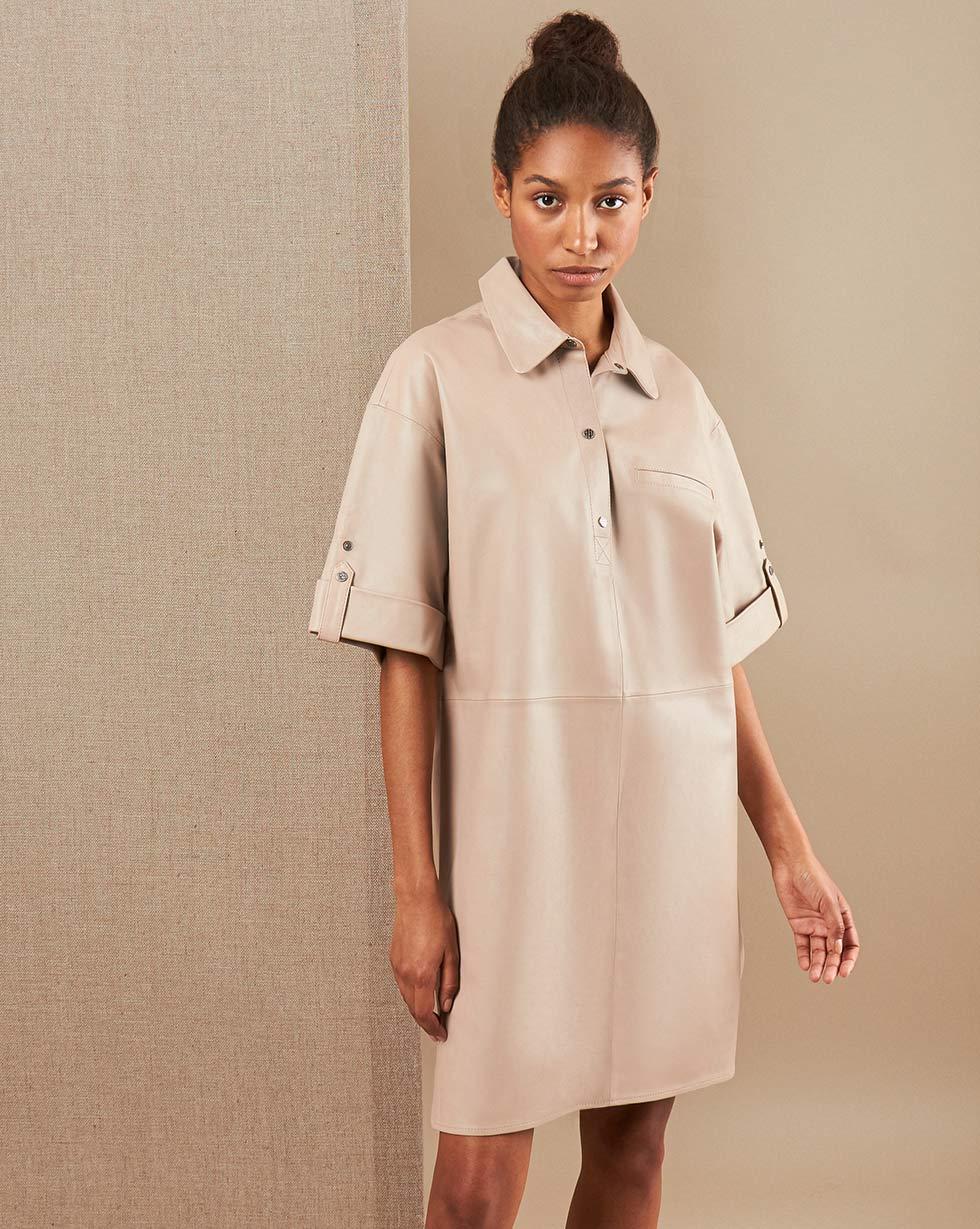 12Storeez Платье миди из кожи LZ43-003 (Светло-серый)