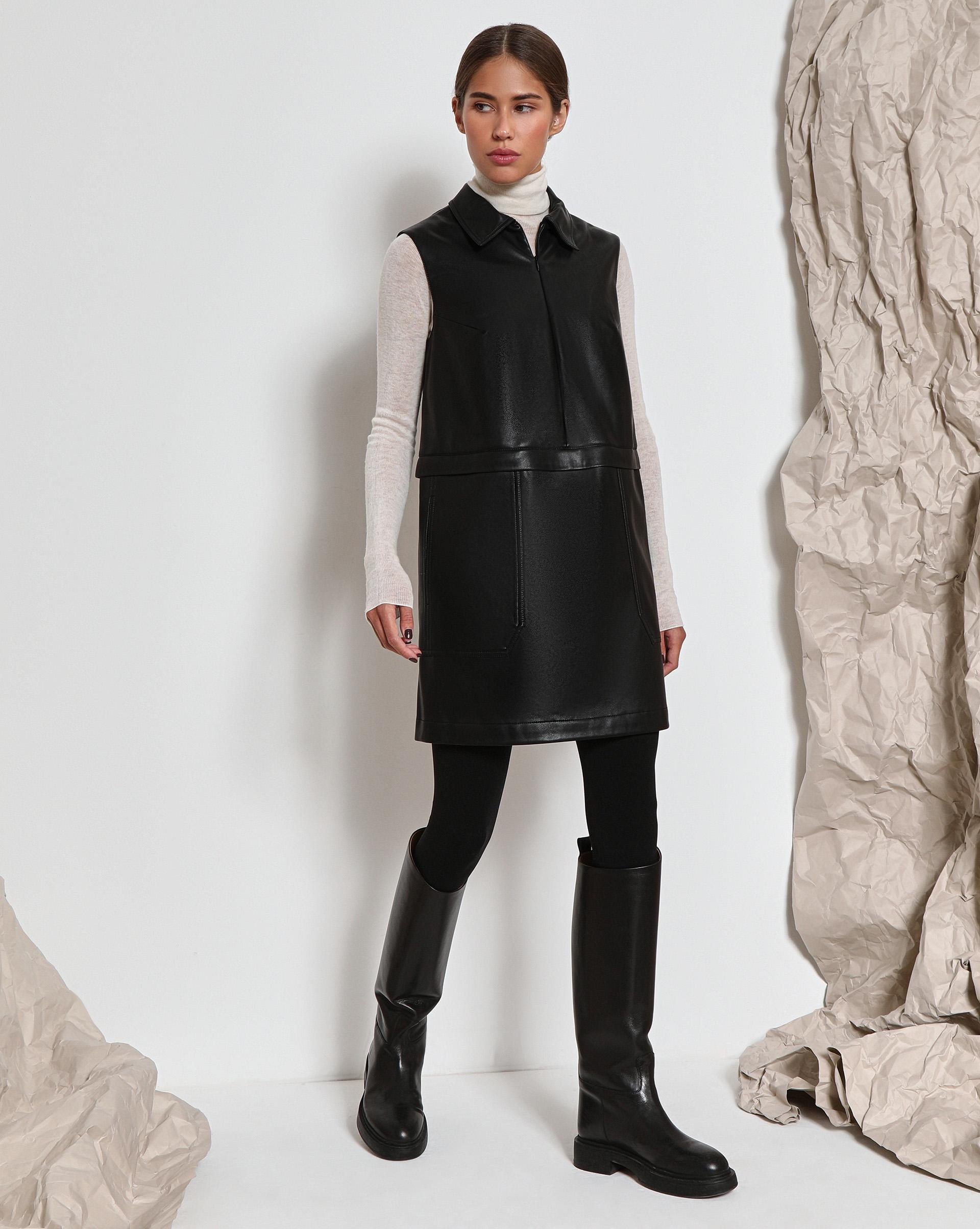 Платье из искусственной кожи с накладными карманами