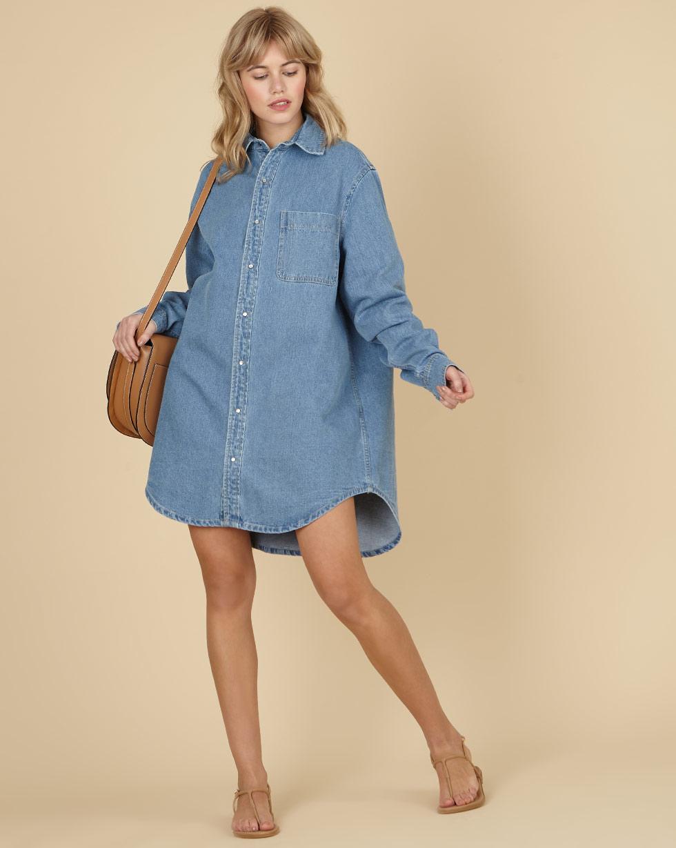 12Storeez Джинсовое платье-рубашка (голубой) SS19