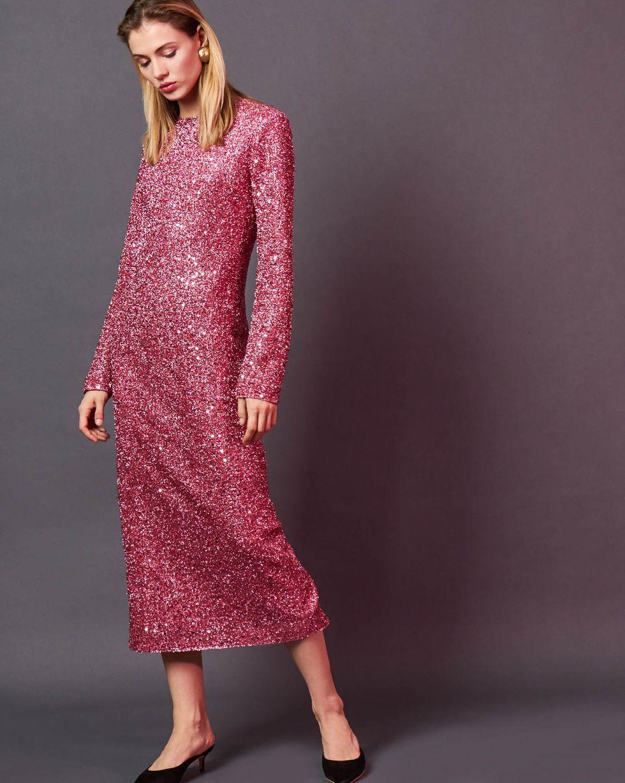 12Storeez Платье миди из ткани металлик (розовый)