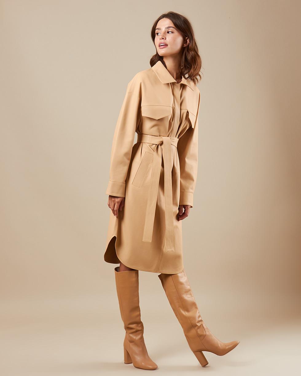 12Storeez Платье кожаное (молочный) SS19 12storeez джемпер с длинным рукавом молочный ss19