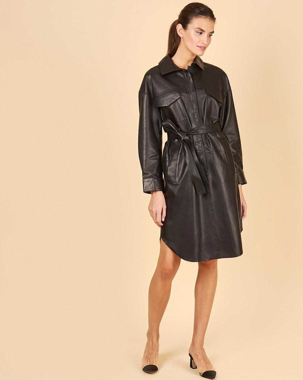 12Storeez Платье кожаное (черный)