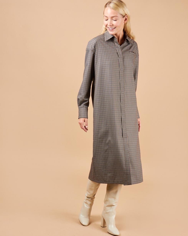 12Storeez Платье-рубашка в клетку (коричневый) 12storeez рубашка в клетку с бантом белый в красную клетку