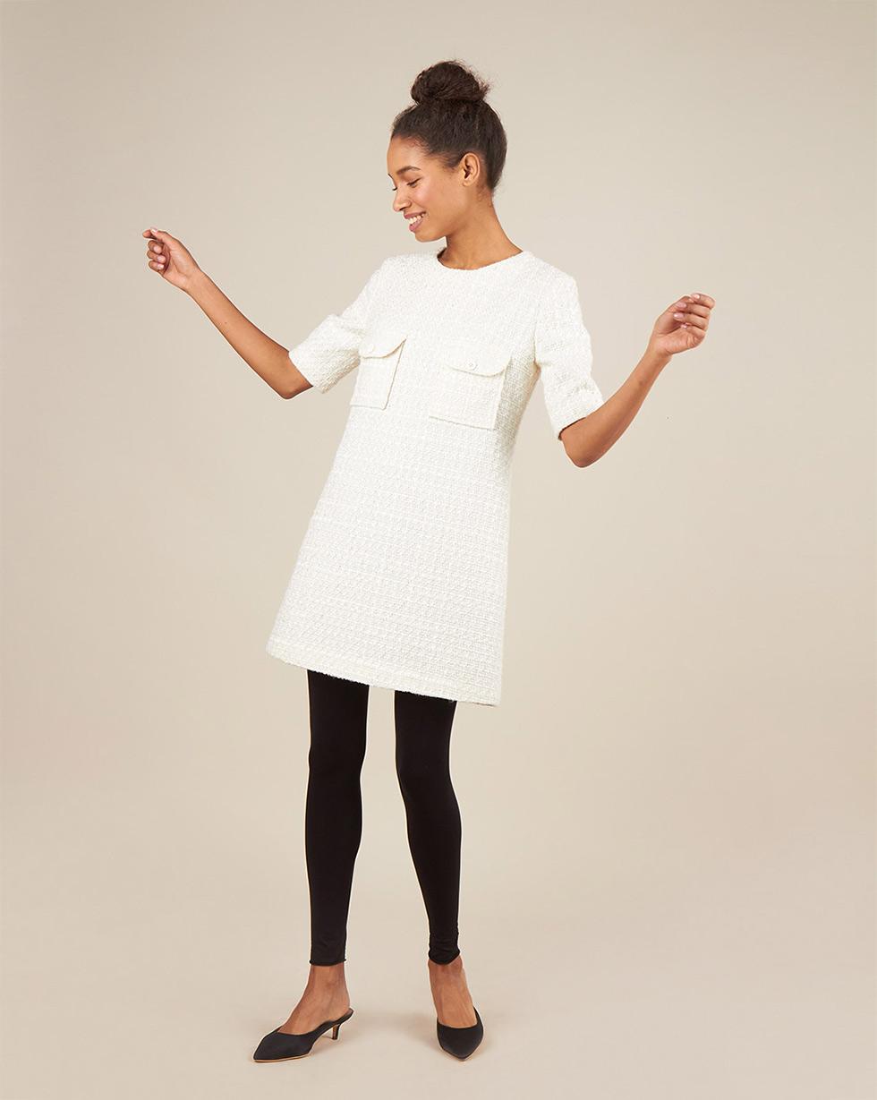 12Storeez Платье из твида (молочный) цена