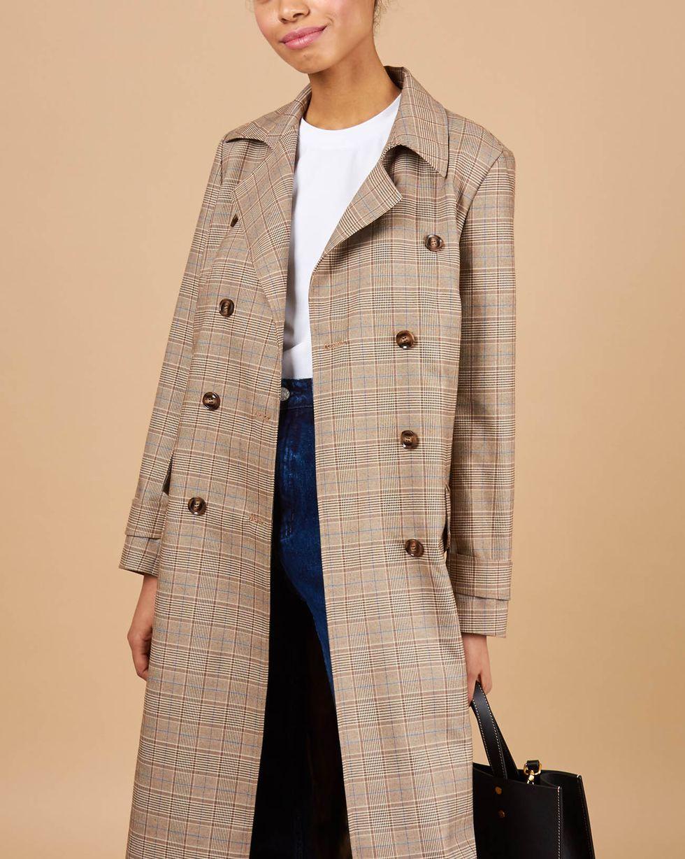 12Storeez Платье пиджак с клапанами в клетку (коричневый)