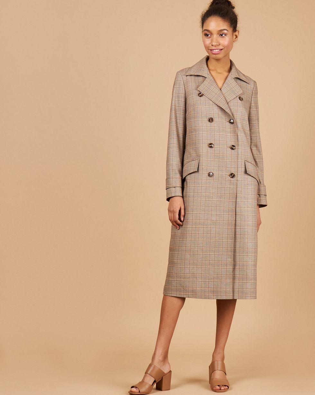 12Storeez Платье-пиджак с клапанами в клетку (коричневый)