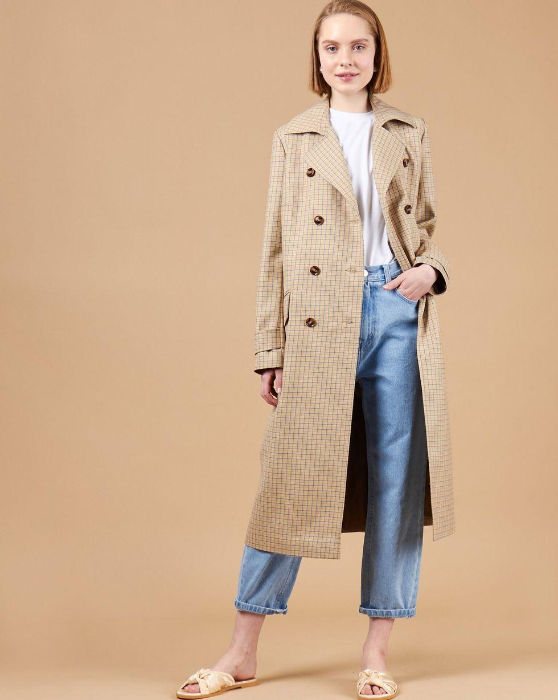 12Storeez Платье-пиджак с клапанами в клетку (бежевый)