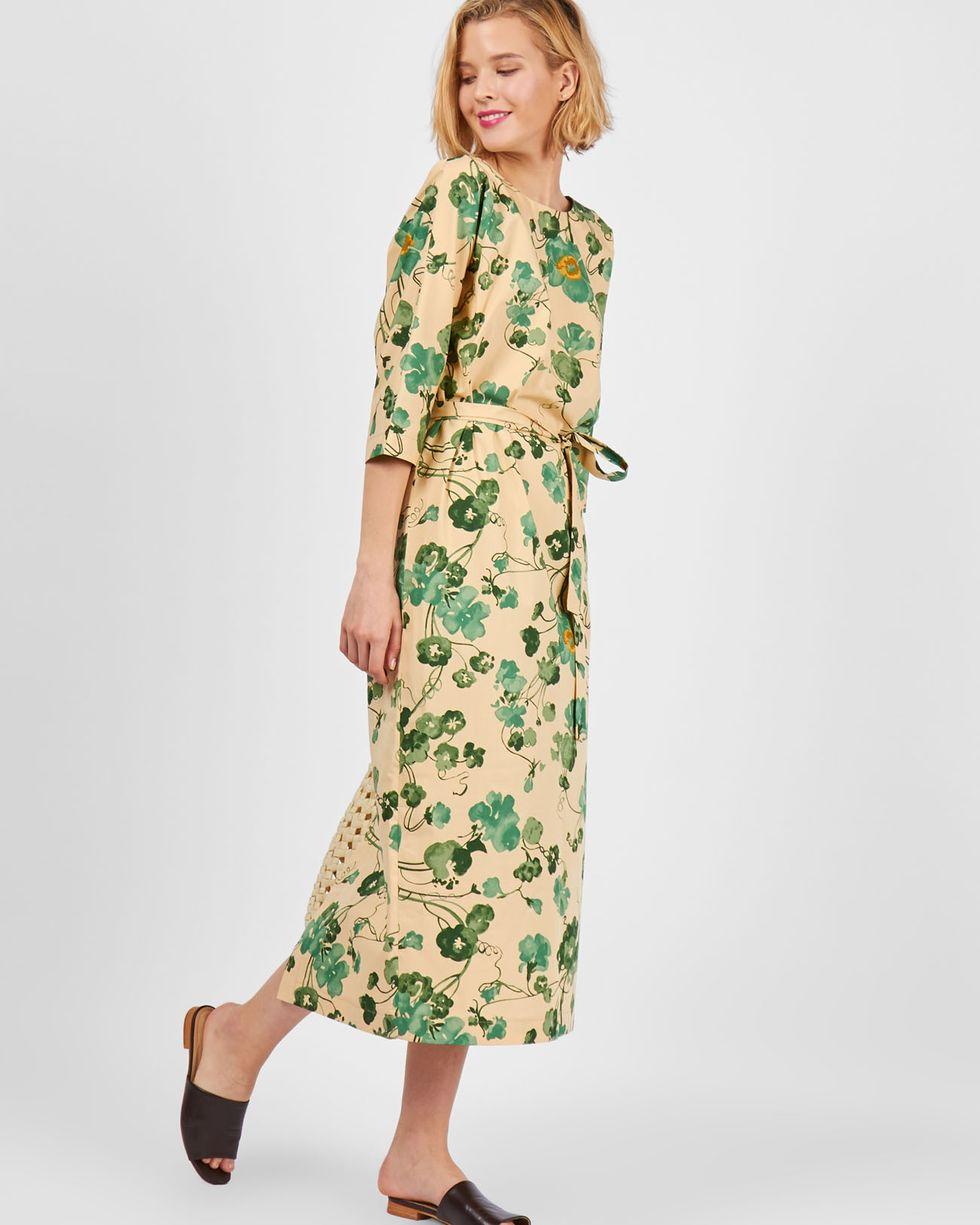 12Storeez Платье миди с вырезом и пуговицами сзади в цветок (бежевый) 12storeez платье миди со шлицей светло бежевый