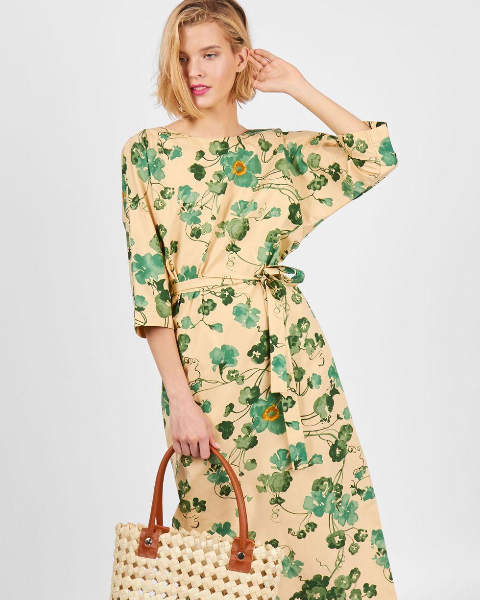 Платье миди с вырезом и пуговицами сзади в цветок Lплатья<br><br><br>Артикул: 82910046<br>Размер: L<br>Цвет: Бежевый<br>Новинка: НЕТ<br>Наименование en: Floral print back v-neck dress
