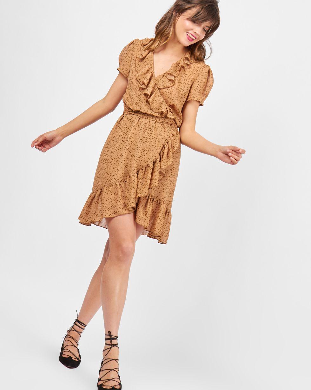 Платье с запахом в горошек из шифона MПлатья<br><br><br>Артикул: 82910108<br>Размер: M<br>Цвет: Бежевый<br>Новинка: НЕТ<br>Наименование en: Polka dot fold-over dress