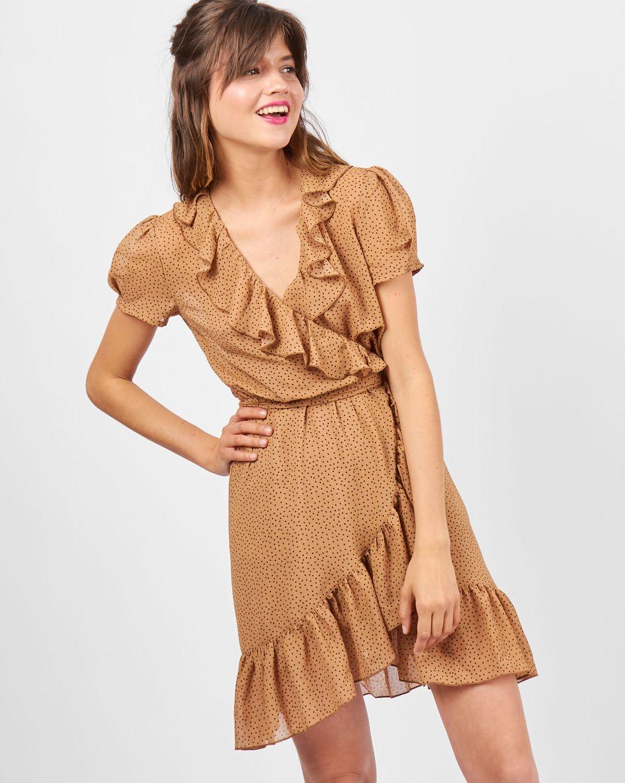 Платье с запахом в горошек из шифона LПлатья<br><br><br>Артикул: 82910108<br>Размер: L<br>Цвет: Бежевый<br>Новинка: НЕТ<br>Наименование en: Polka dot fold-over dress