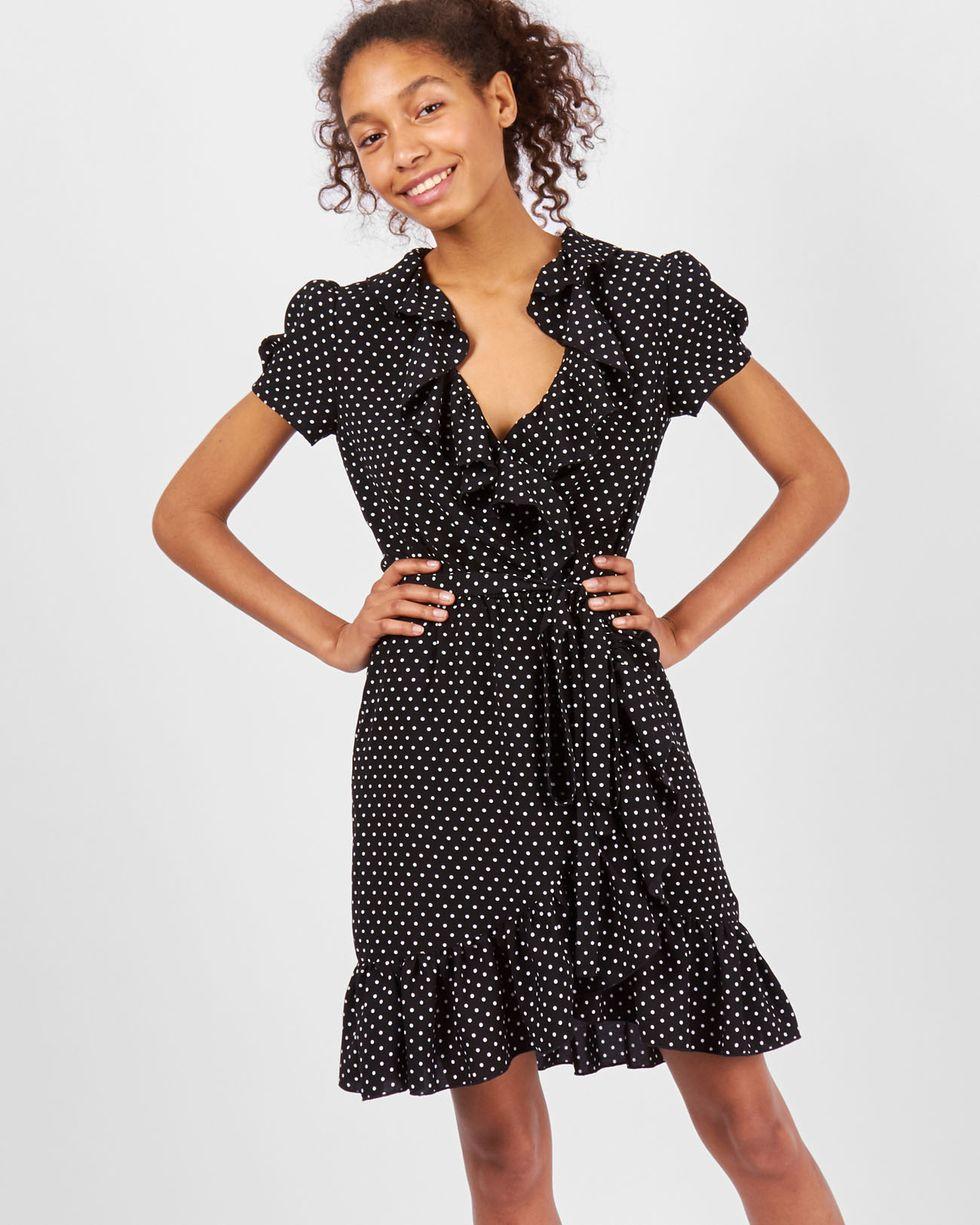 Платье мини с запахом в мелкий горошек SПлатья<br><br><br>Артикул: 82910113<br>Размер: S<br>Цвет: Черный<br>Новинка: НЕТ<br>Наименование en: Polka dot fold-over dress