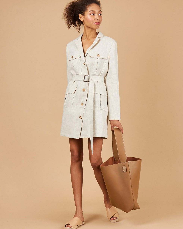 12Storeez Платье-пиджак с карманами (молочный)