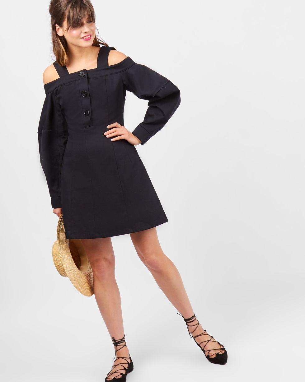 Платье мини с открытыми плечами LПлатья<br><br><br>Артикул: 82910170<br>Размер: L<br>Цвет: Черный<br>Новинка: ДА<br>Наименование en: Open-shoulder mini dress