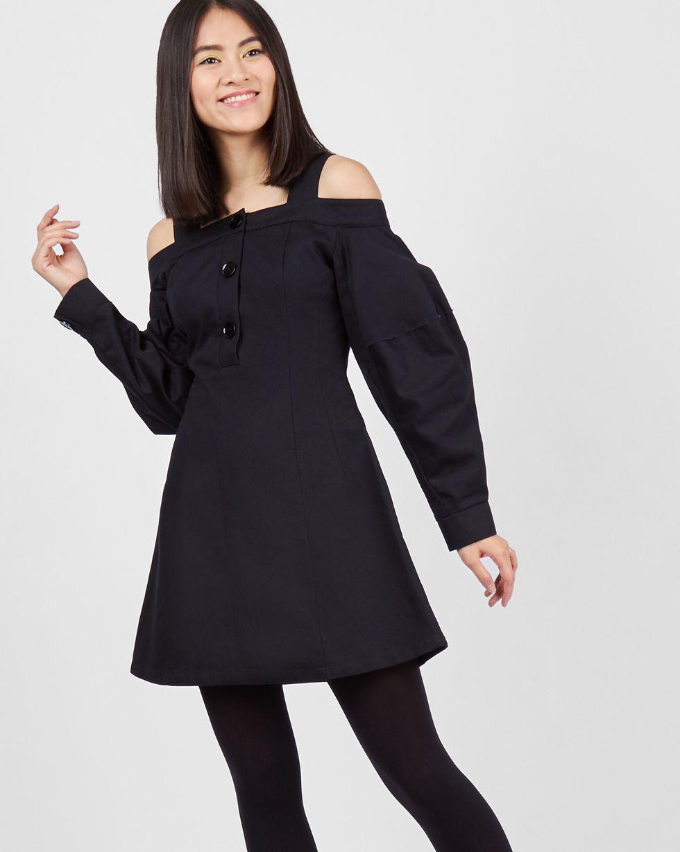 12Storeez Платье мини с открытыми плечами (черный) 12storeez платье приталенное с открытыми плечами чёрный
