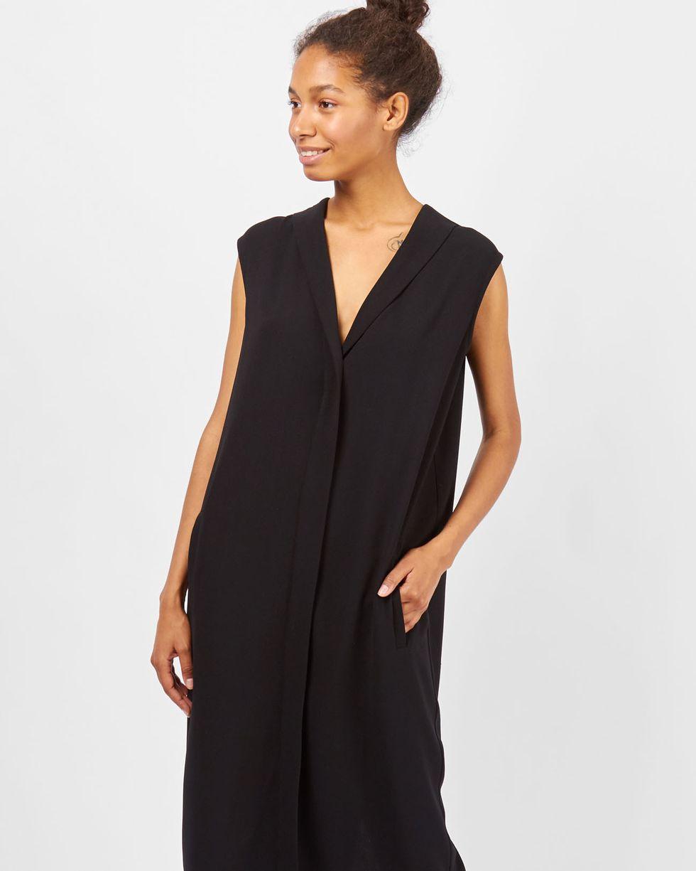12Storeez Платье миди без рукавов со шлицей (черный) набор железной дороги на радиоуправлении голубая стрела классик 87186