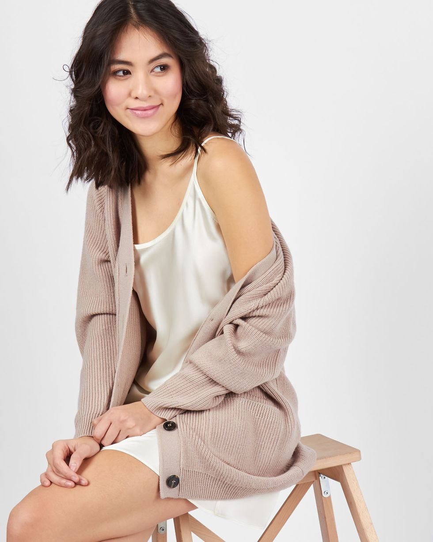 12Storeez Платье-комбинация мини из шелка (молочный) платье пуловер из хлопка шелка