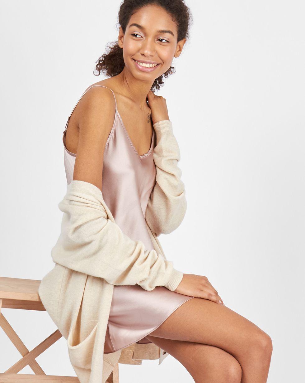 12Storeez Платье-комбинация мини из шелка (кофейный) платье пуловер из хлопка шелка