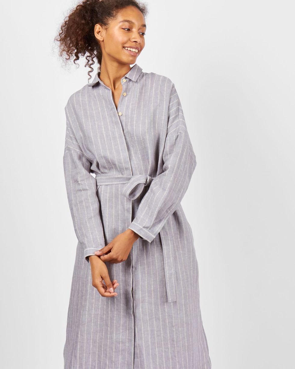 12Storeez Платье-рубашка на поясе изо льна (серый) платье рубашка fox yulia sway платье рубашка fox