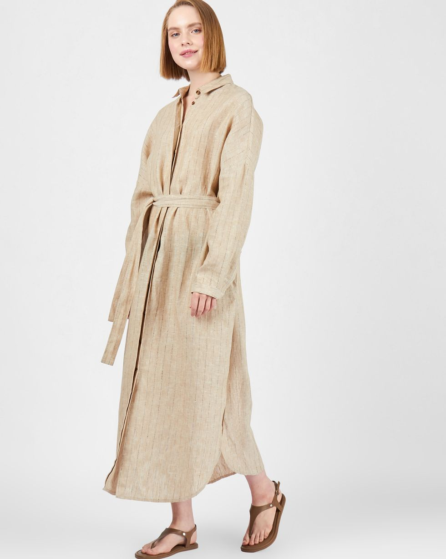 12Storeez Платье-рубашка на поясе изо льна (бежевый) цена и фото
