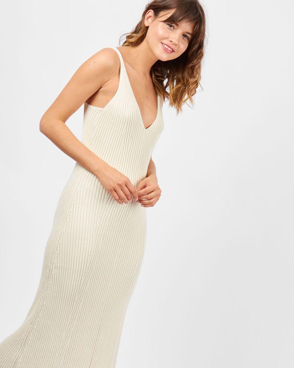 12Storeez Платье на широких бретелях из трикотажа (молочный-) 12storeez платье на широких бретелях из трикотажа бежевый