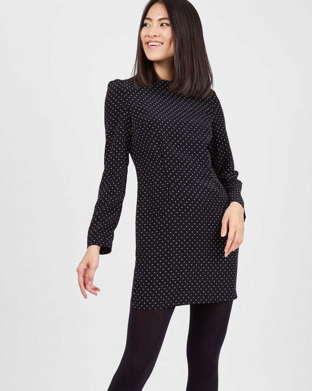 12Storeez Платье мини в горошек (черный) платье голубое в белый горошек