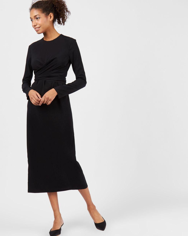 Платье миди с завязками на талии LПлатья<br><br><br>Артикул: 82910563<br>Размер: L<br>Цвет: Черный<br>Новинка: НЕТ<br>Наименование en: Wrap front midi dress