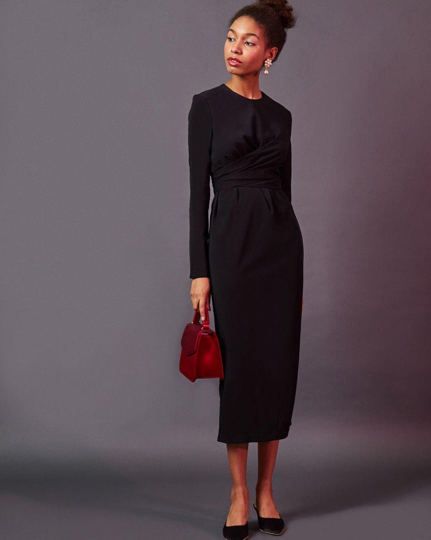 Платье миди с завязками на талии XSПлатья<br><br><br>Артикул: 82910563<br>Размер: XS<br>Цвет: Черный<br>Новинка: НЕТ<br>Наименование en: Wrap front midi dress