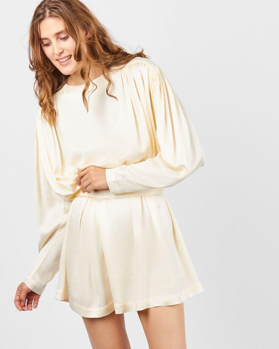 12Storeez Платье мини с объемными плечами (молочный) платье alina assi alina assi mp002xw1ajj1