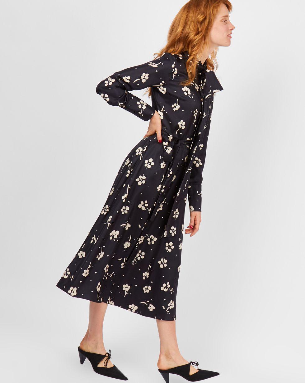 12Storeez Платье миди с бантом в цветок (черный) платье с бантом на талии