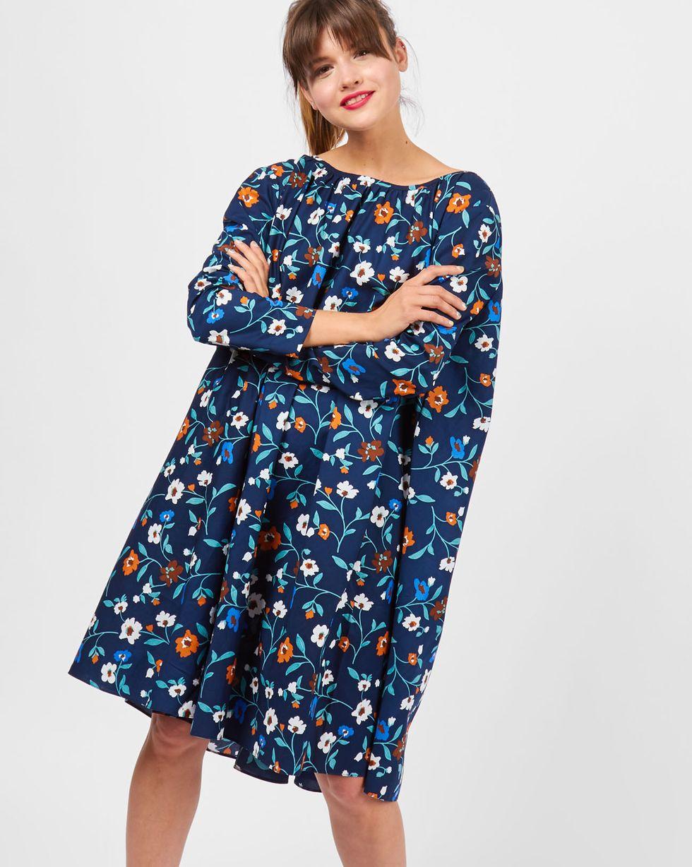 12Storeez Платье миди с вырезом на спине в цветок (синее)