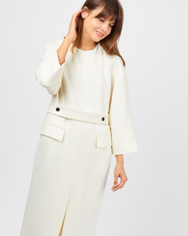 Платье миди с объемными плечами SПлатья<br><br><br>Артикул: 82910774<br>Размер: S<br>Цвет: Молочный<br>Новинка: НЕТ<br>Наименование en: Wool blend mini dress