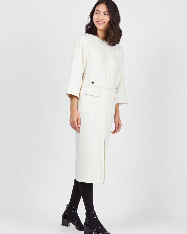 Платье миди с объемными плечами SПлатья<br><br><br>Артикул: 82910774<br>Размер: S<br>Цвет: Молочный<br>Новинка: НЕТ<br>Наименование en: Wool blend midi dress