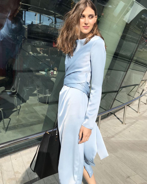 12Storeez Платье миди с завязками на талии (темно- голубой)
