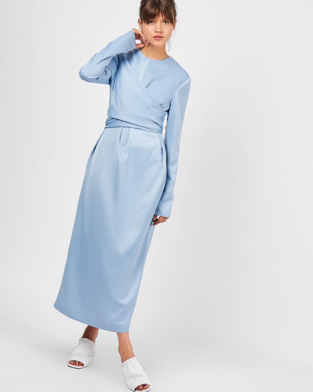 Платье миди с завязками на талии MПлатья<br><br><br>Артикул: 82910851<br>Размер: M<br>Цвет: Голубой<br>Новинка: НЕТ<br>Наименование en: Drawstring waist midi dress