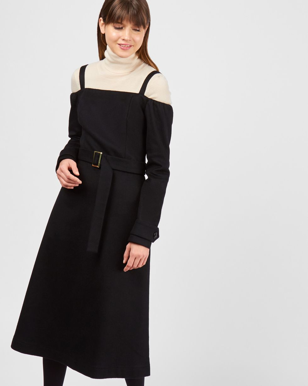 Платье миди с открытыми плечами LПлатья<br><br><br>Артикул: 82910863<br>Размер: L<br>Цвет: Черный<br>Новинка: НЕТ<br>Наименование en: Open shoulder cashmere midi dress
