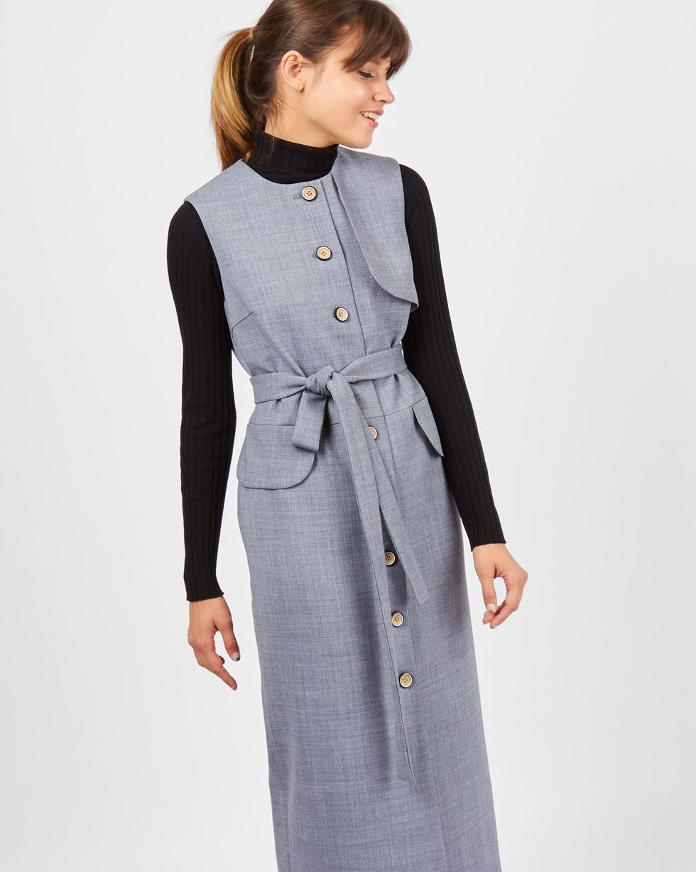 Платье без рукавов XSПлатья<br><br><br>Артикул: 82910923<br>Размер: XS<br>Цвет: Серый<br>Новинка: НЕТ<br>Наименование en: Sleeveless wool midi dress