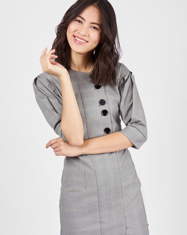 12Storeez Платье миди на пуговицах (серый) 12storeez платье миди с запахом на талии серый в мелкую клетку