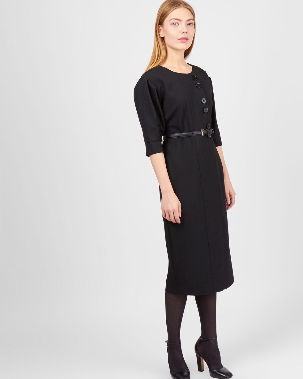 12Storeez Платье миди на пуговицах (черный)