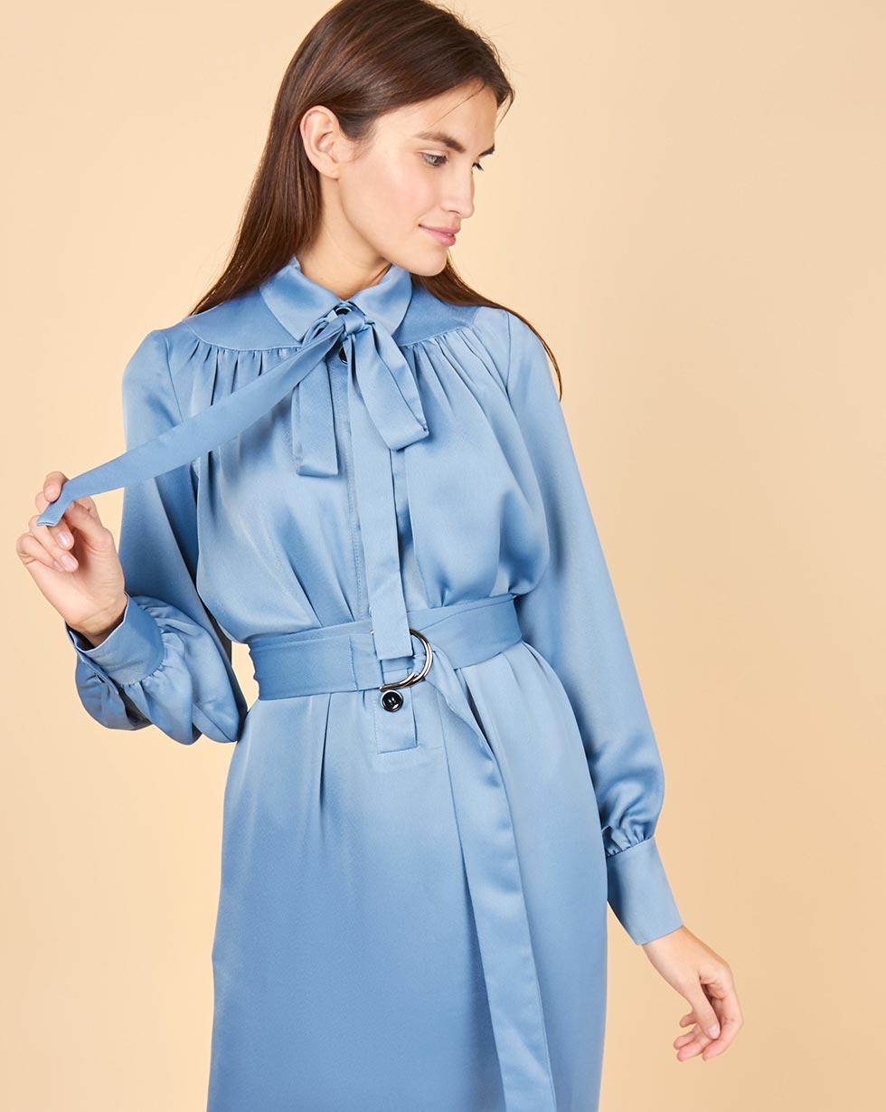 12Storeez Платье на поясе с бантом (голубой)