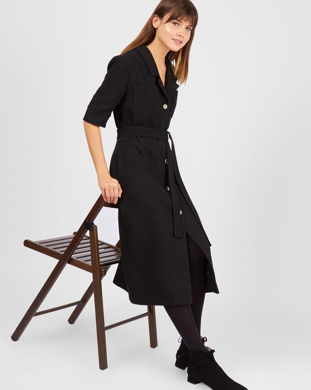 Платье миди из твида MПлатья<br><br><br>Артикул: 82911029<br>Размер: M<br>Цвет: Черный<br>Новинка: НЕТ<br>Наименование en: Tweed midi dress
