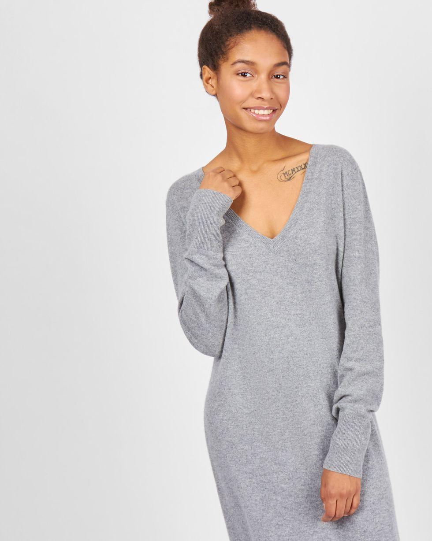 12Storeez Платье миди из 100% кашемира (серый)