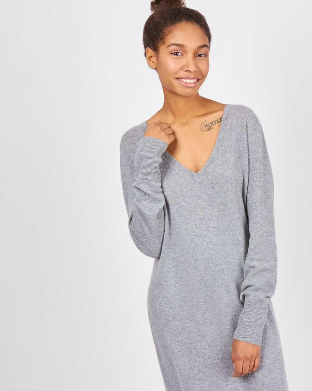 Платье миди из 100% кашемира SПлатья<br><br><br>Артикул: 82911112<br>Размер: S<br>Цвет: Серый<br>Новинка: НЕТ<br>Наименование en: Cashmere tunic dress